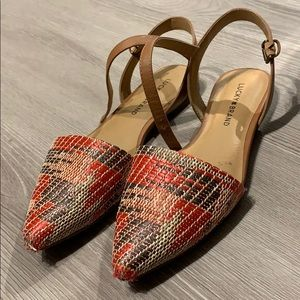 Pointy toe woven mule sandals